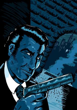 lurking: Classic noir spy scene in a comic book style.