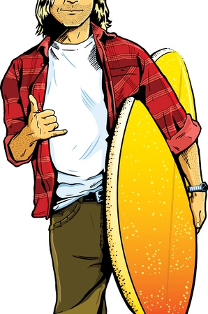 Male surfer dude carrying a surfboard and showing a stoked hand symbol. Framed to show particular detail to the clothes and clear space within the t-shirt area. Vector