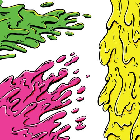 slurry: Vibrant paint splashes cartoon Illustration