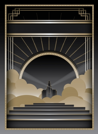 Art Deco inspired background design with frame and banner elements Иллюстрация
