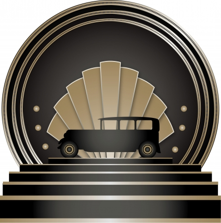 Art Deco Stye Badge with a motoring theme and isolated against a white background Фото со стока