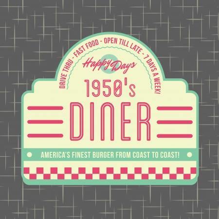 1950 年代のダイナー スタイルのロゴの設計