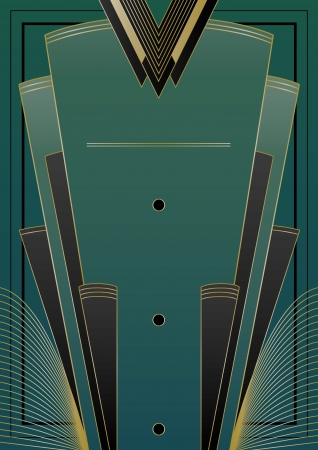 Art Deco inspired design with frame and banner elements Иллюстрация