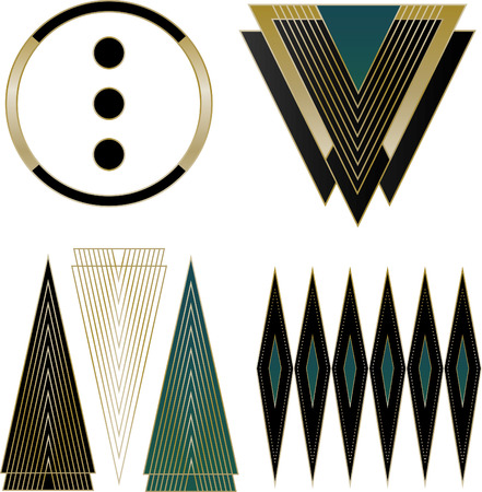 A collection of four mixed Art Deco  and Design Elements   Ilustração