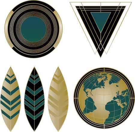 A collection of four mixed Art Deco  and Design Elements    Ilustração