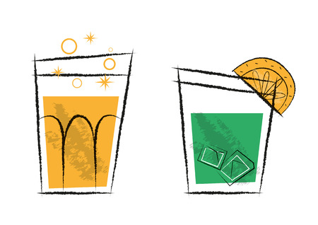 A collection of illustrated party cocktails with fruit and ice pieces