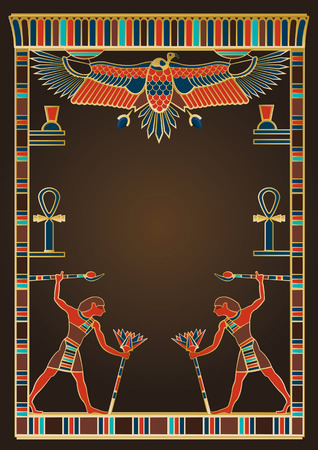 An Egyptian vector illustration with frames and design elements inspired by the treasures of ancient Egypt.