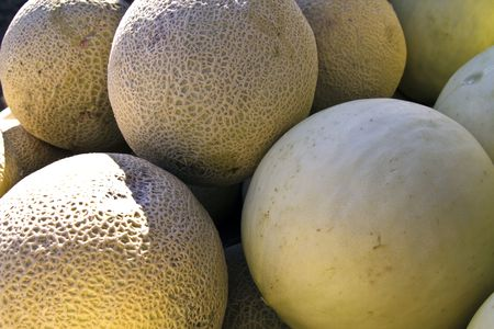 Cantelope and honeydew melons wait for the first buyer of the day
