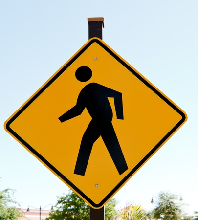 Sign signalling drivers of a pedestrian crossing