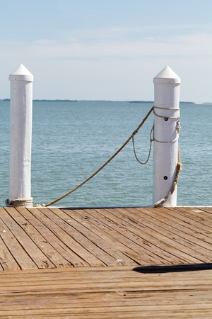 Pier posts for ships to dock on the Gulf of Mexico in Florida