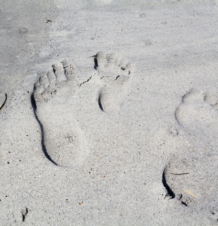 A set footprints in the sand gives off an illusion of relief