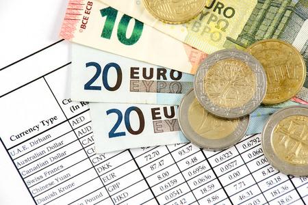 european exchange: Money of the European Union on the background of exchange rate Stock Photo