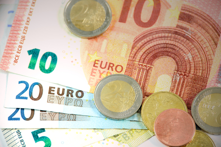 geld: Different types of coins and banknotes European currency Stock Photo