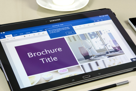 Krynica, Poland - December 19, 2016 - Microsoft Office Word application on Samsung Galaxy Note Pro 12.2. Microsoft Word is a text editor developed by Microsoft for Windows, macOS, Android and iOS.