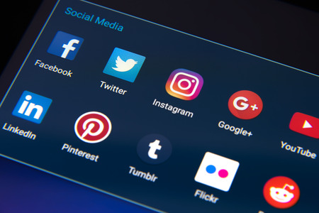 Krynica Poland - January 04, 2017 . Popular social media app isons on Android: Twitter, LinkedIn, Facebook and other on smart phone screen close up.