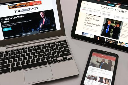 Krynica-Zdroj, Polen - 20 januari 2017: Britse elektronische media The Times, Financial Times en BBC News publiceren de informatie over de inauguratie Donald Trump als 45 President van de Verenigde Staten van Amerika.