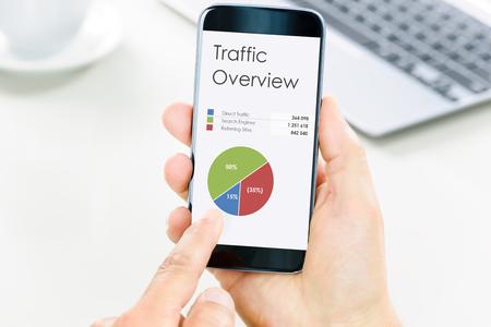 Modern digital marketing concept - zakenman heeft een smartphone en analyseert digitale data en grafieken.