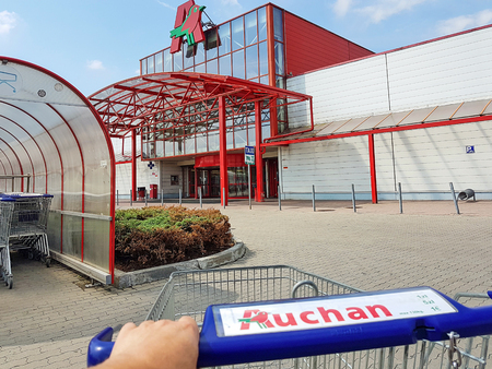 Nowy Sacz, Poland - June 25, 2017: Exterior view of the Auchan Hypermarket. Auchan is a French international retail group and multinational corporation headquartered in Croix, France. Editorial