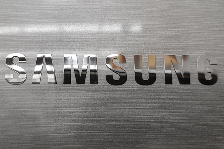 Nowy Sacz, Poland - June 30, 2017: Samsung logo on electronic device in Auchan hypermarket. Samsung is a South Korean multinational conglomerate company headquartered in Seoul.