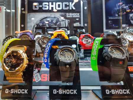 Nowy Sacz, Poland - June 30, 2017: Casio G-Shock watches for sale in a shop window. G-Shock is a line of watches manufactured by Casio, designed to resist mechanical shock and vibration.