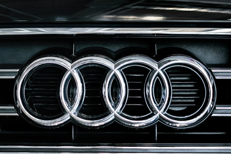 Rzeszow, Poland, May 28, 2017: Audi sign close-up during Automative Exhibition in Rzeszow. Audi is a German automobile manufacturer of luxury vehicles.