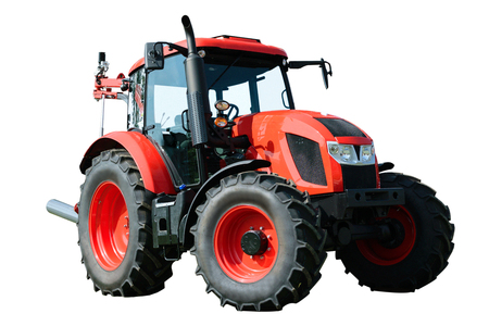 heavy industry: New and modern red agricultural generic tractor isolated on white background