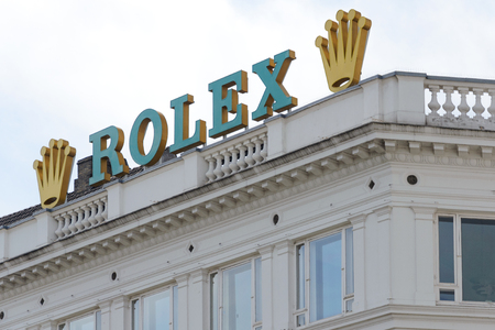 Copenhagen, Denmark - July 24, 2017: Rolex Company sign on the top of the building in Copenhagen. Rolex is a famous Swiss manufacturer of high-quality, luxury wristwatches. Editorial