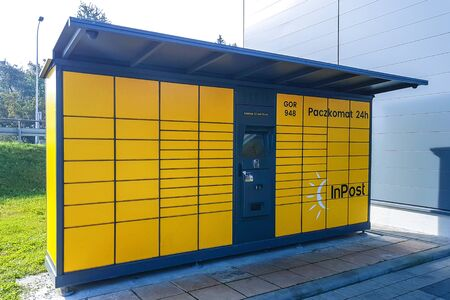 Gorlice, Poland - august 30, 2017: InPost Paczkotam automated parcel locker on the street of Gorlice in Poland. 에디토리얼