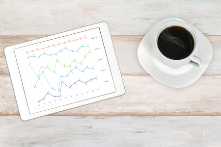 Composite image of a stock market analytics data workplace -  modern white and silver digital tablet with cup of coffee on a wooden bright background (high angel view)
