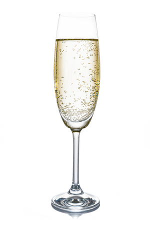Champagne glass isolated on white background (high details)