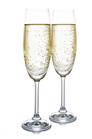 Two champagne glasses isolated on white background (high details).