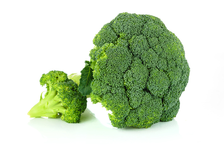 Fresh broccoli vegetable isolated on white background in close-up.