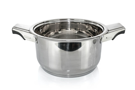 Premium stainless steel metal cooking pot isolated on a white background.