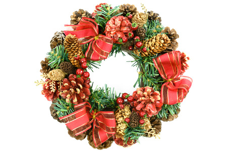 Beautiful christmas wreath decoration with red ribbon, holly, cones, spruce and isolated on white background ( high details, not natural)