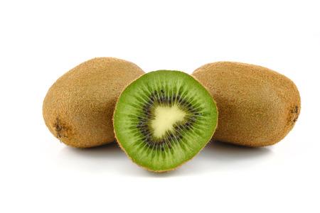 Group of kiwi fruit isolated on white background in close-up Stock Photo