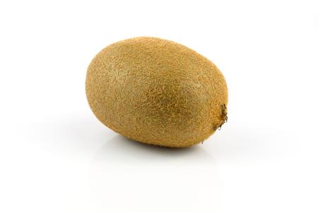 One kiwi fruit isolated on white background in close-up