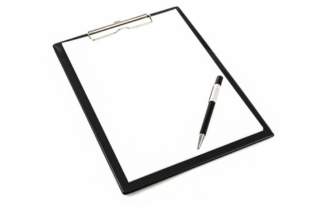 Mock-up of a pen and blank clipboard with copy space.