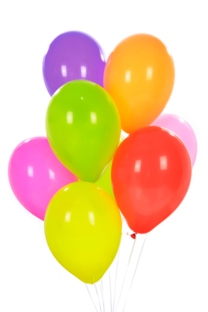Party decoration concept - mix of colorful balloons isolated on a white background.