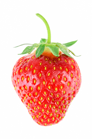 Ripe whole strawberry isolated on a white background in close-up Stock Photo