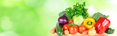 Healthy eating and green grocery shopping banner - group of selected fresh vegetables on abstract nature background (copy space). Stock Photo