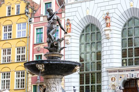 Gdansk, Poland - June 26, 2018: Fountain of the Neptune in the Old Town of Gdansk in close-up. 에디토리얼