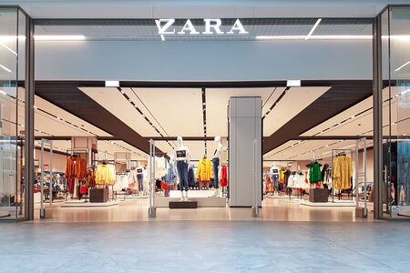 Gdansk, Poland - June 30, 2018: Exterior of Zara fashion store in Gdansk. Zara is a flagship store of Inditex - a famous Spanish multinational clothing company. 에디토리얼