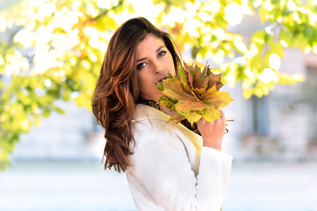 Portrait of a beautiful and lovely young woman holding fallen leaves on a blurred background of the autumn park on a sunny day. Stock Photo