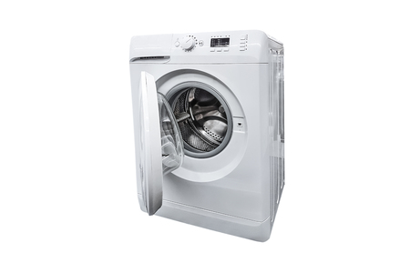 Generic modern washing machine with an open drum isolated on a white background