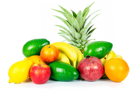 Healthy eating concept - group of various fruits isolated on a white background in close-up