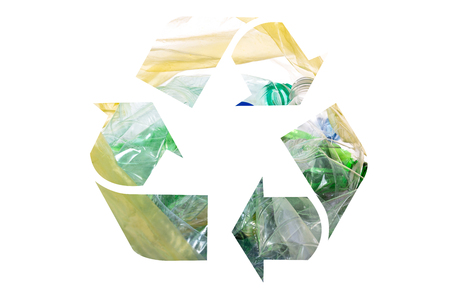Composite image of an environmental conservation and recycle sign on a white background