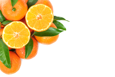 Tropical fruit composition - group of fresh oranges or tangerines  isolated on a white background with copy space