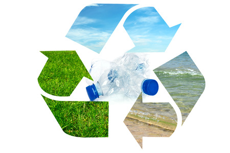 Composite image of global environment conservation - plastic garbage bottles inside recycle sign