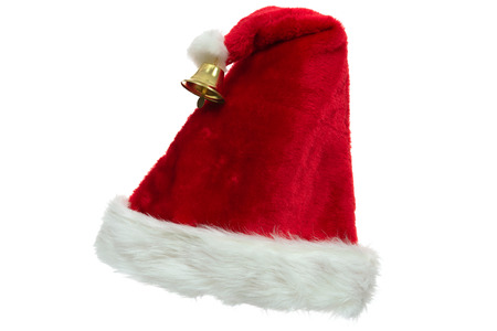 Santa Claus red hat with a bell in close-up isolated on a white background ( high details)