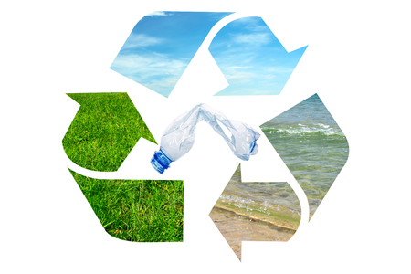 Composite image of global environment conservation - plastic garbage bottle inside recycle sign